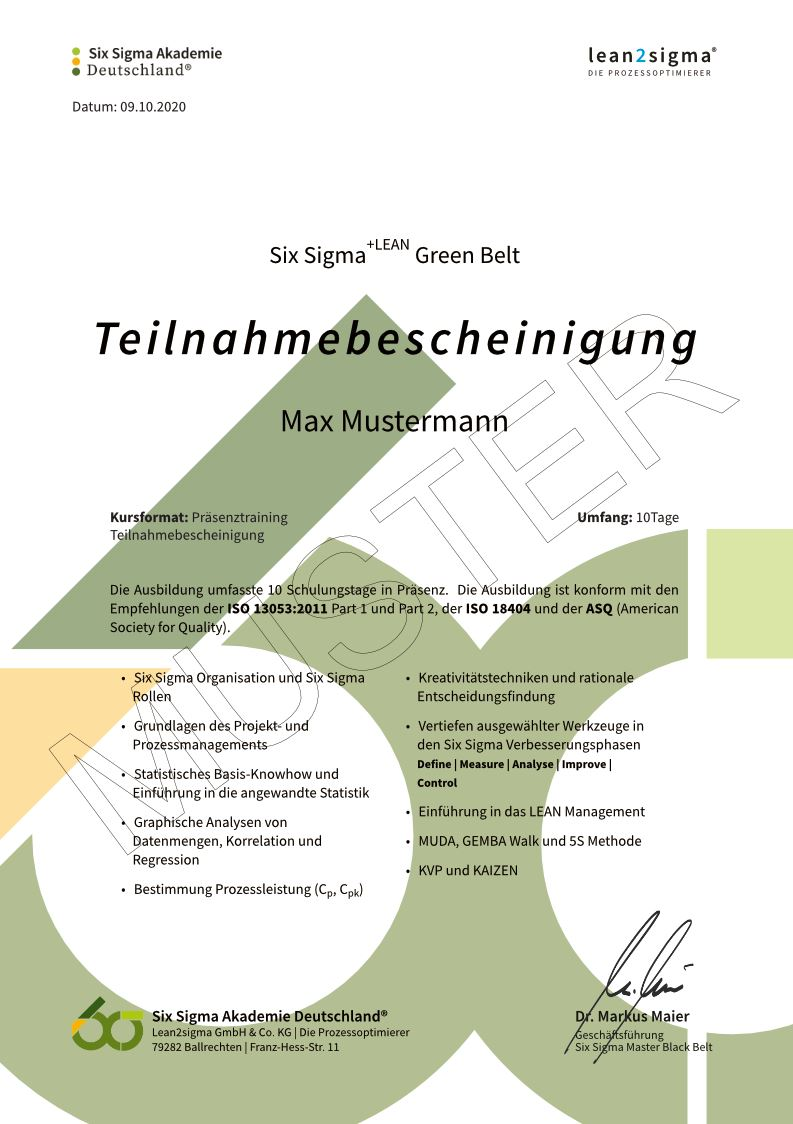Six Sigma Musterzertifikat