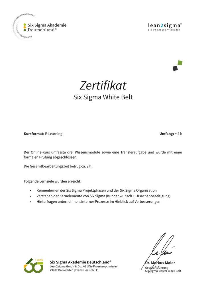 white Belt Zertifikat
